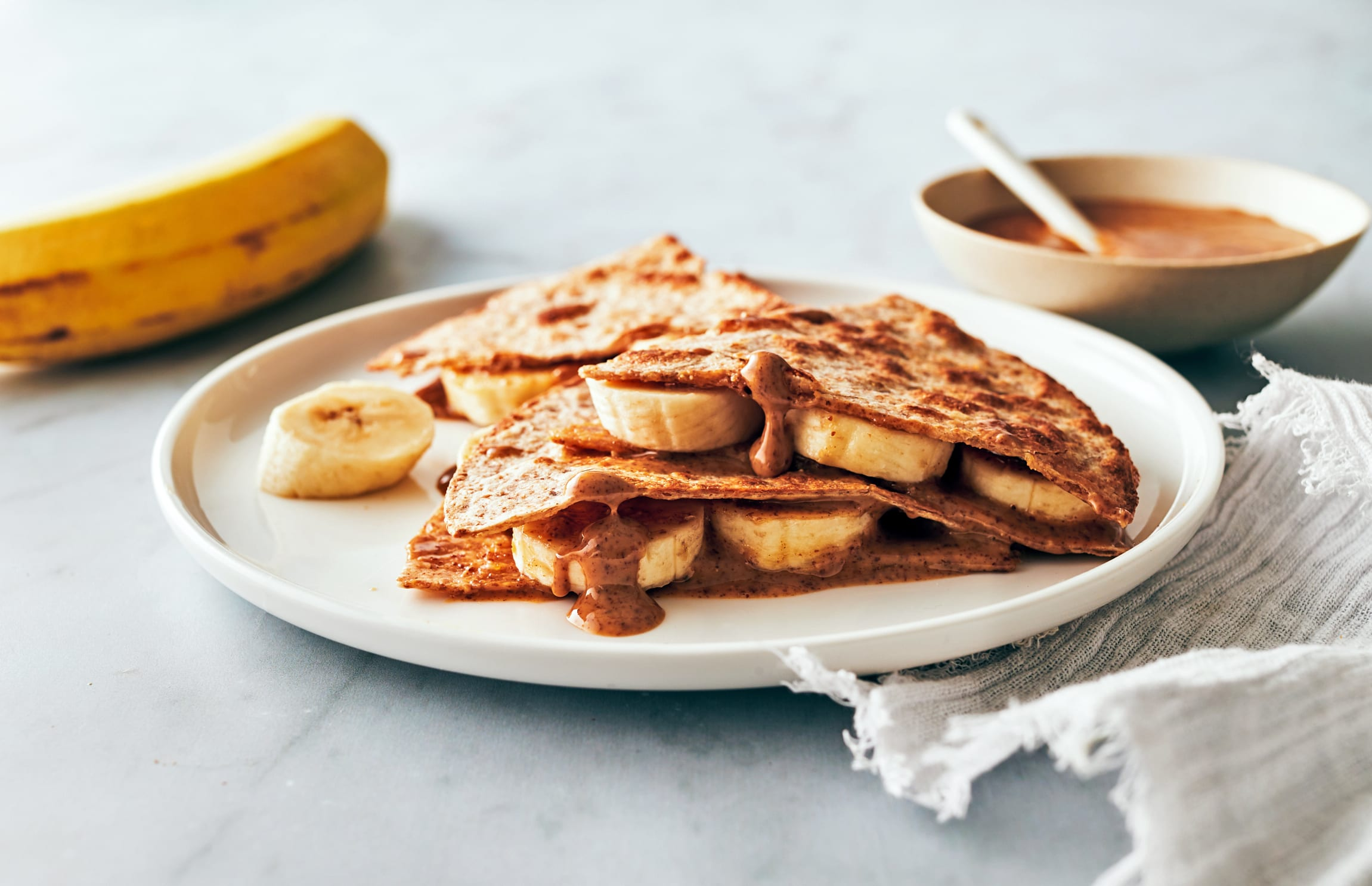 easy healthy snack ideas - Banana and Almond Butter Quesadilla