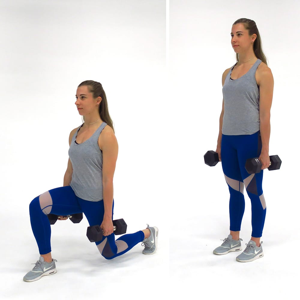 forward lunges woman dumbbells