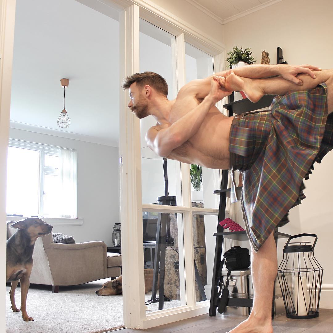 finlay wilson kilted yoga dancer pose