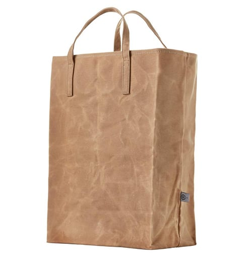 waxed canvas reusable grocery bag