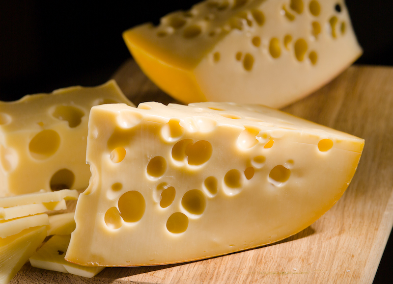 healthiest cheese- swiss cheese