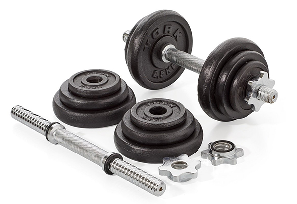 york cast iron dumbbell set - building a home gym