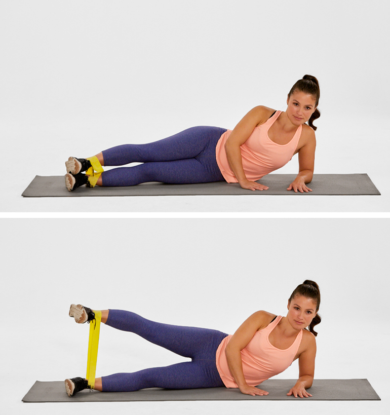 Side leg Lift with band - Lower Body Workout