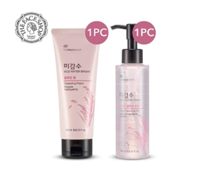 The Face Shop Rice Water Bright Cleansing Foam & Light Cleansing Oil Set --K Beauty Products