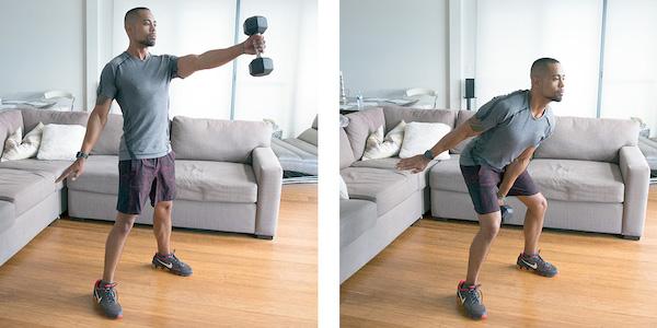 hamstrings exercise- dumbbell swing