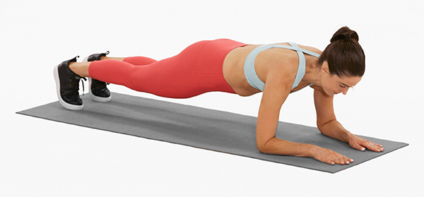 forearm plank - woman - mat - on white