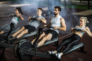 intensity -- calories burned rowing