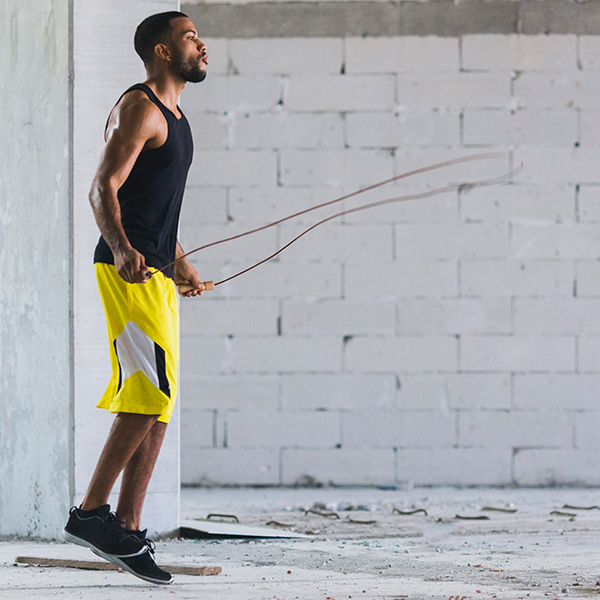 jump rope - man - outside - aerobic exercise at home