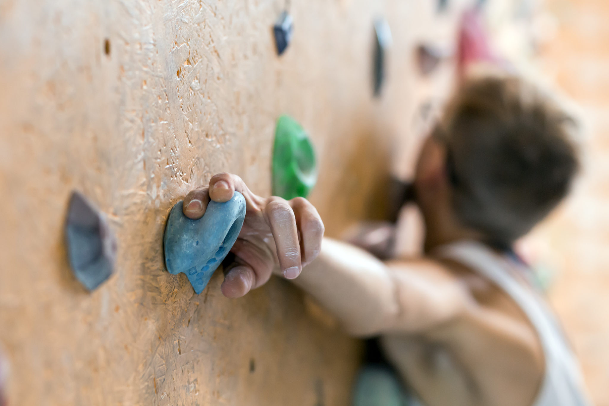 rock climbing techniques- climber hand detail