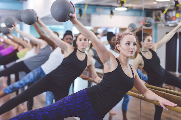 barre as cardio- women doing barre with balls