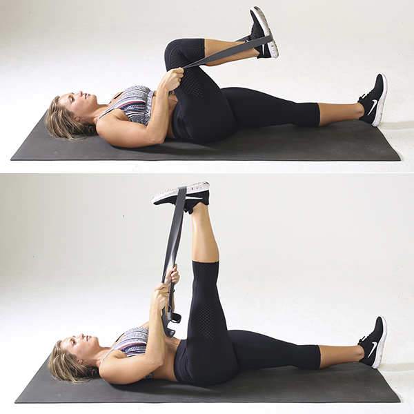 woman performing aingle-leg extension