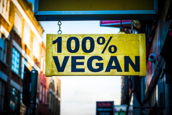 100% Vegan hanging street sign