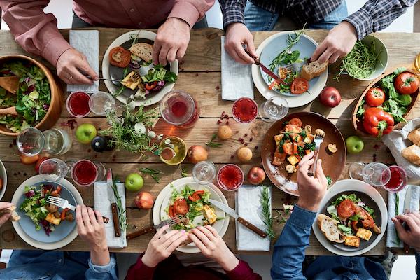 aerial view of people having a vegan diet meal