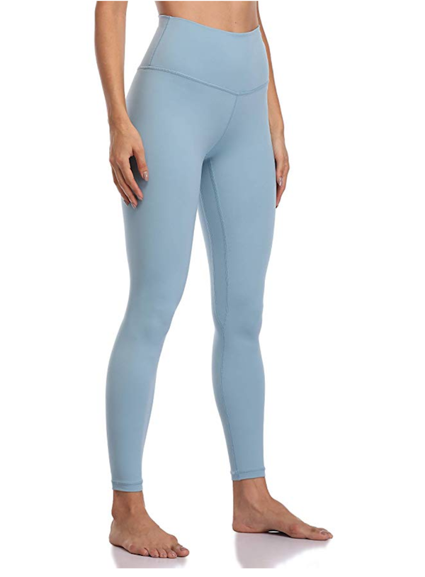 woman wearing light blue high-waisted yoga pants