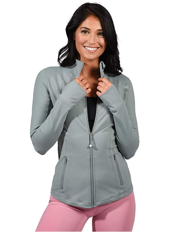 woman wearing lightweight running track jacket - fall workout clothes