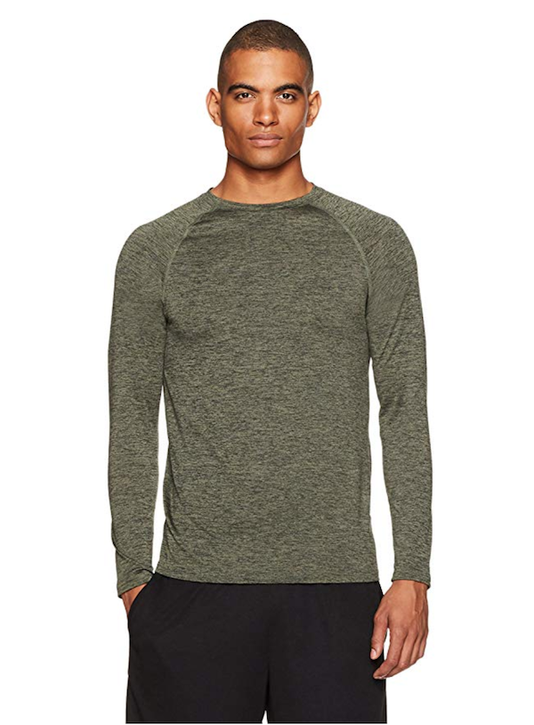 man wearing tech stretch long-sleeve T-Shirt - fall workout clothes