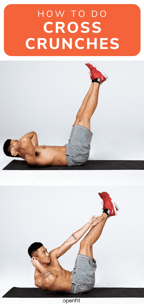 cross crunches - pin image