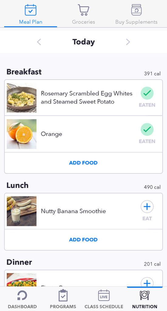 Openfit Nutrition - log meals