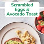 scrambled eggs and avocado toast pin