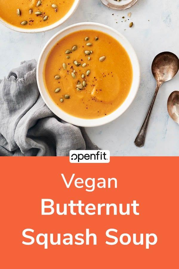 vegan butternut squash soup - pin image