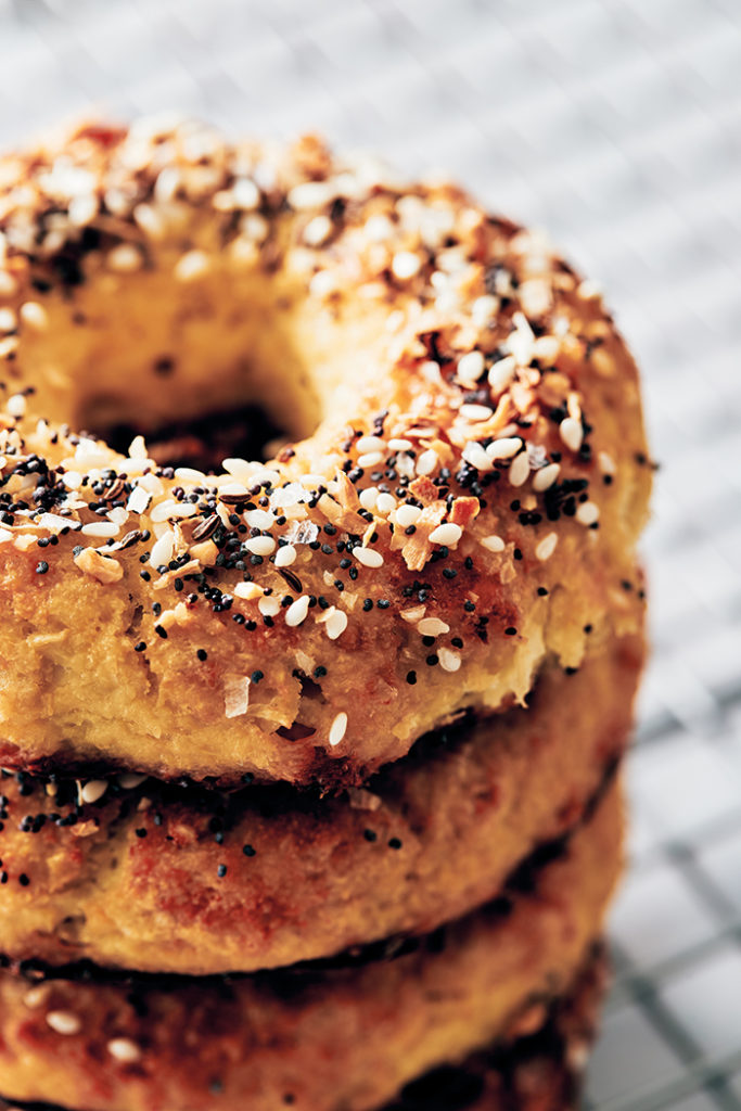low carb keto bagel topped with everything seasoning