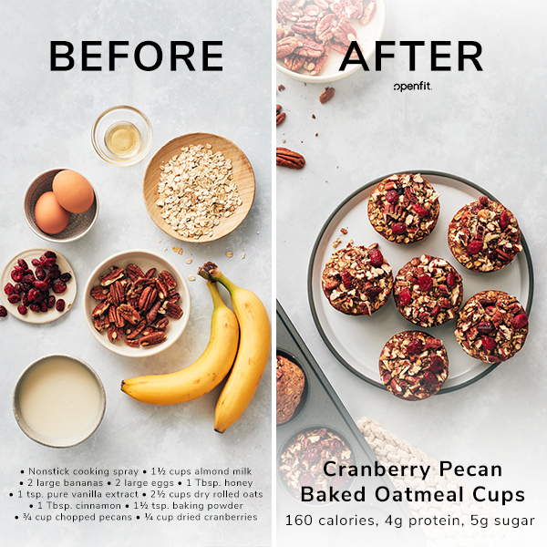 Cranberry Pecan Baked Oatmeal Cups - Before and After
