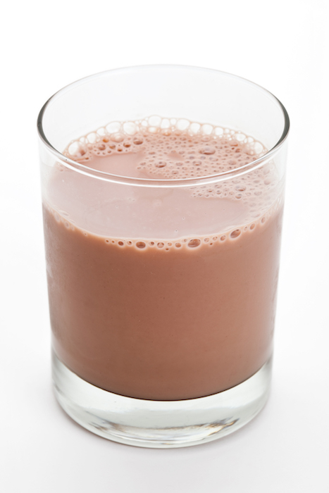 chocolate milk after workout- chocolate milk in glass