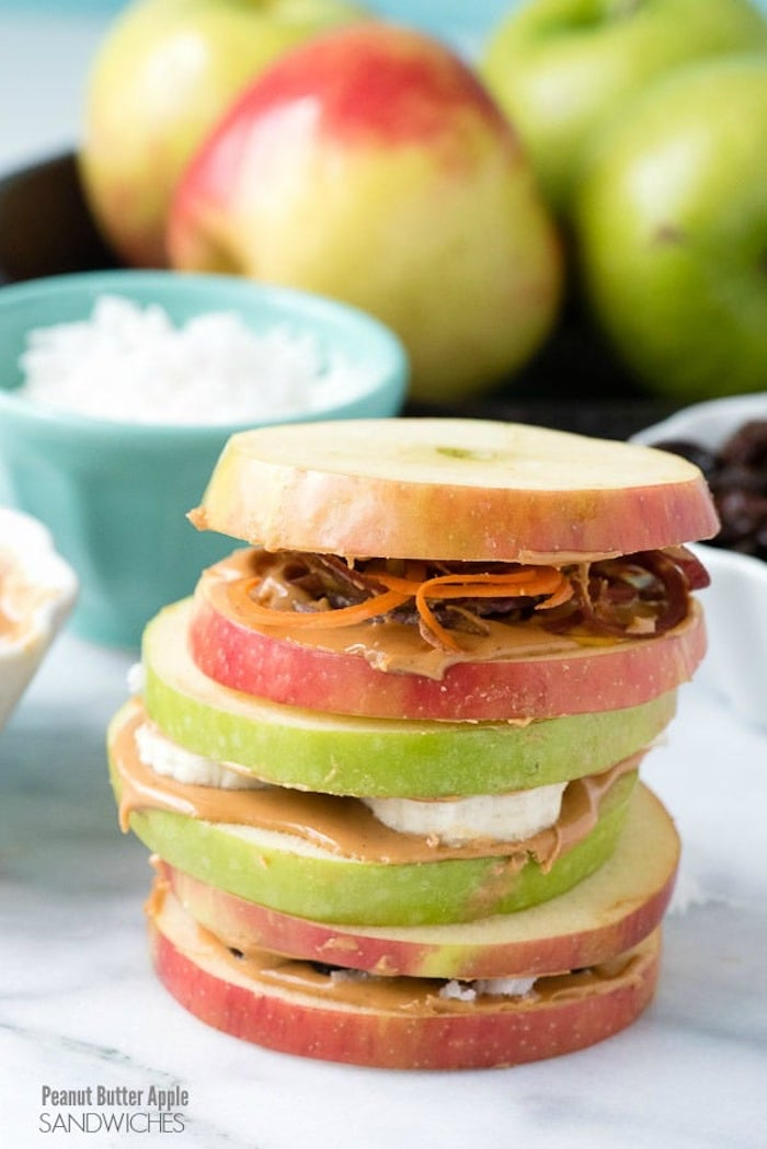 apple peanut butter sandwich- kids lunch ideas