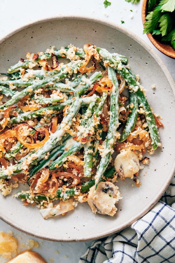 plant based thanksgiving recipes - green bean casserole