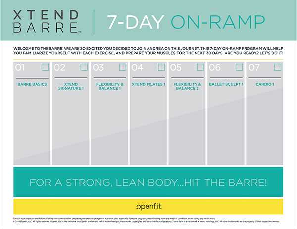 Xtend Barre 7 Day On-Ramp Calendar