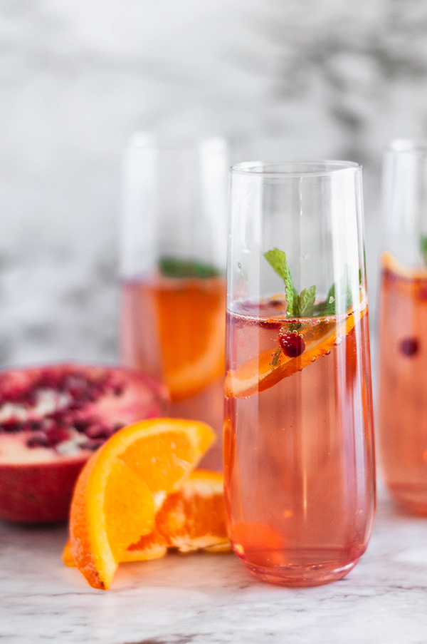 Champagne Punch Recipe in glasses