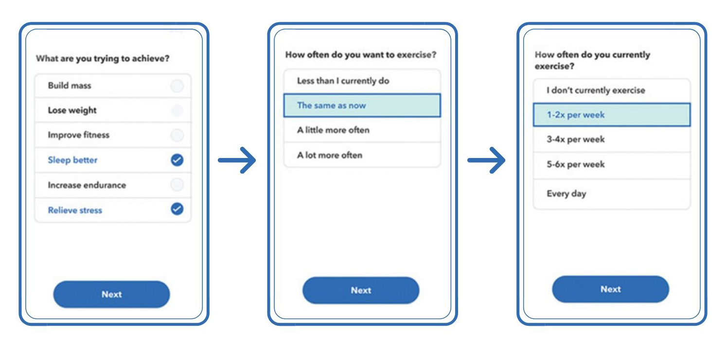 how to stream openfit - onboarding screens