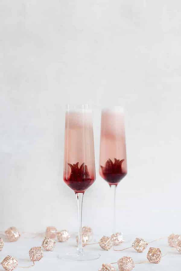 healthy holiday cocktails- hibiscus prosecco