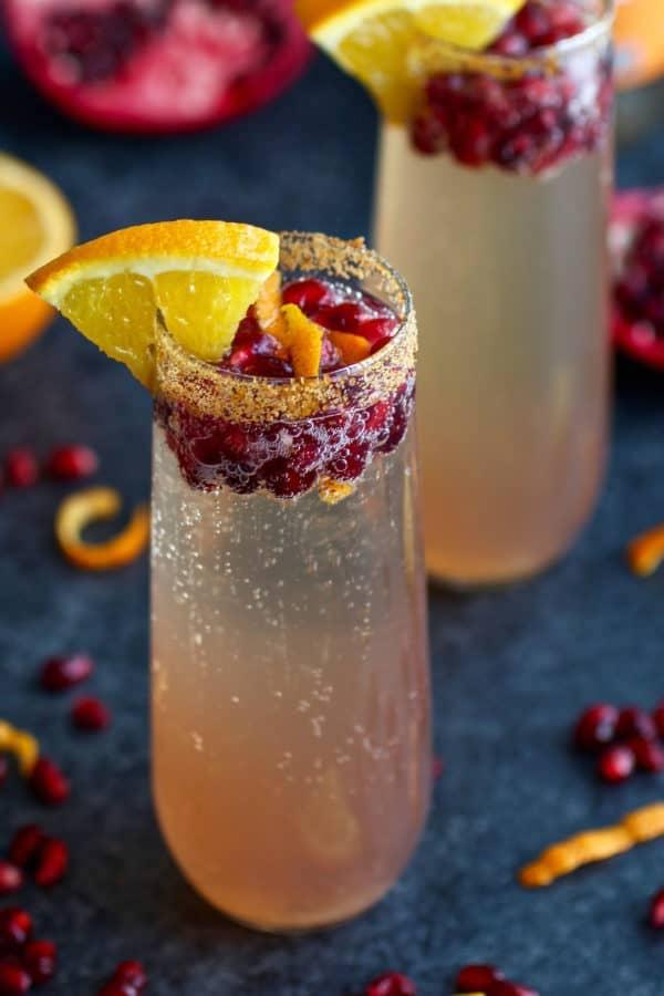 healthier holiday cocktails- pom kombuhca mimosa