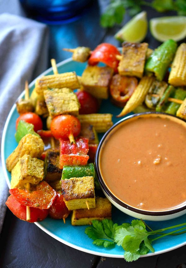vegan appetizers- vegan satay kebab