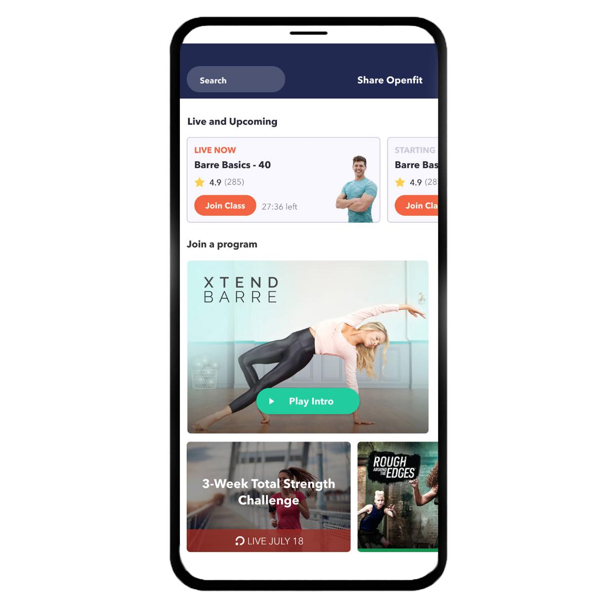openfit app - in screen grab