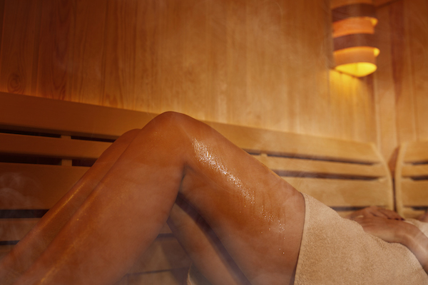 sauna after workout- laying in sauna