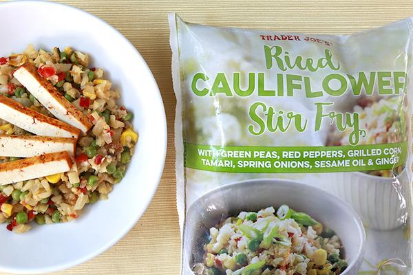 low carb foods- riced cauliflower stir fry
