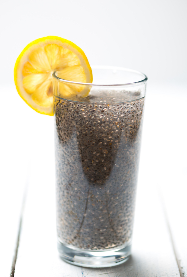 foods to fight fatigue - water and chia seeds