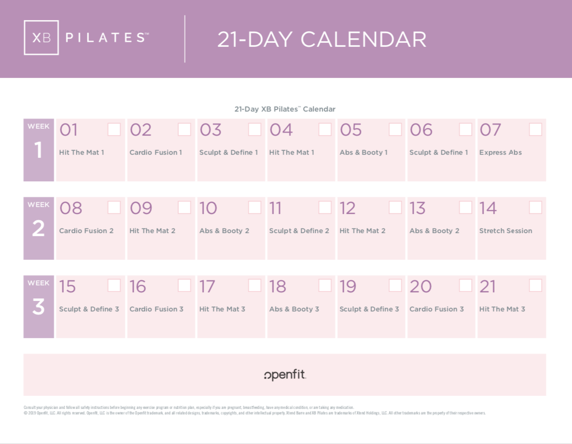 xb pilates 21 day calendar