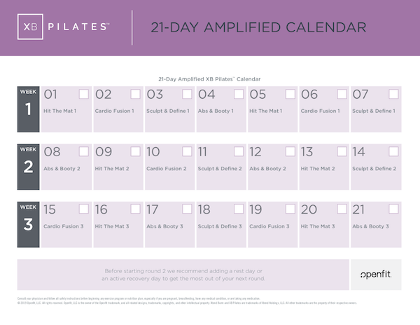 XB Pilates amplified calendar