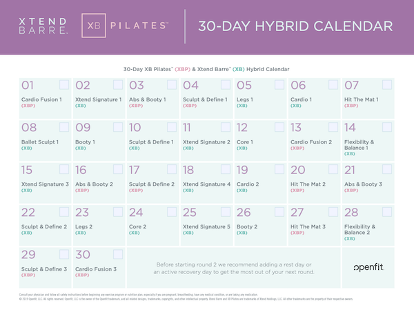xb pilates 30 day hybrid calendar