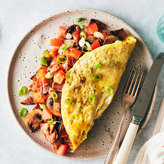 Sugar Free 3 Recipes - omelet on plate  - Sugar Free 3 Recipes