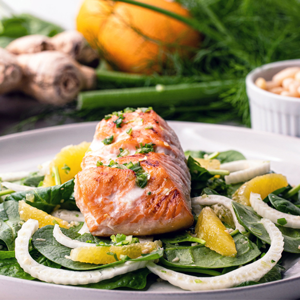 sugar free 3 recipes- sesame salmon with fennel and orange