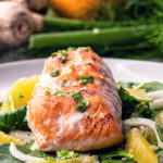 sesame salmon with fennel and orange salad
