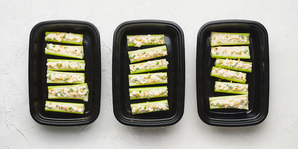 sugar free 3 meal prep- celery and cottage cheese