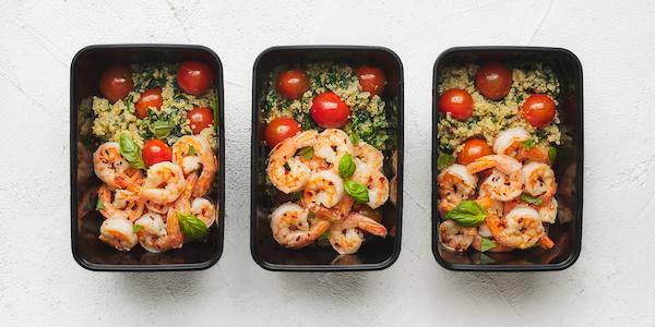 sugar free 3 meal prep- shrimp and quinoa