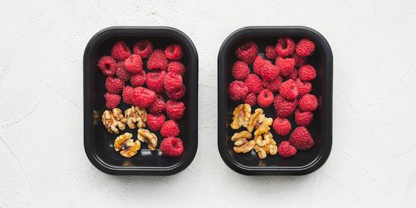 sugar free 3 meal prep- raspberry and walnuts