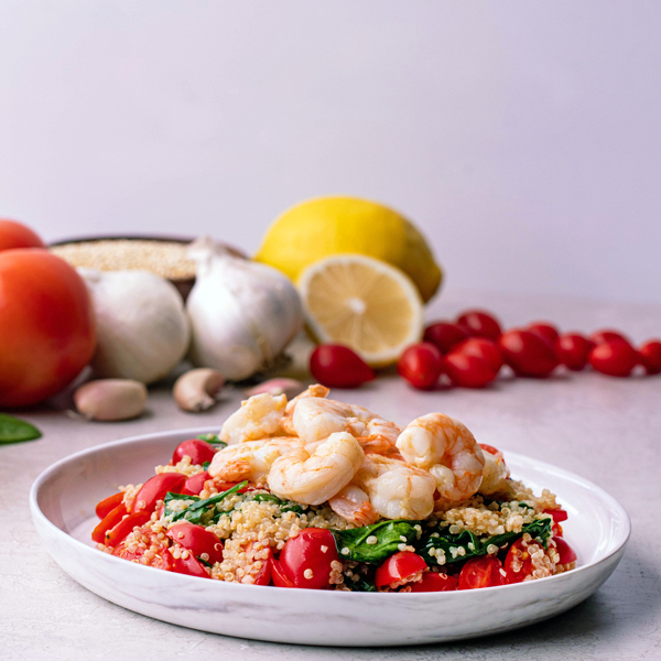 sugar free 3 recipes- lemon garlic shrimp with quinoa  - Lemon Garlic Shrimp with Quinoa 2C Tomatoes 2C and Spinach22