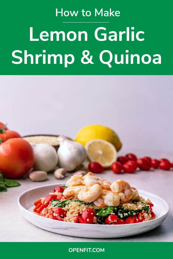 garlic shrimp and quinoa - pin image